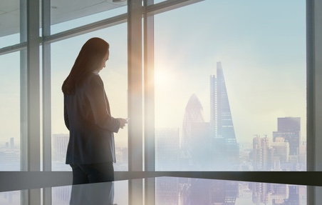 Business woman at office window